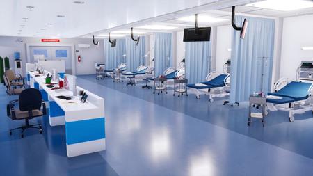 Interior de la sala de emergencias en una clínica moderna con una fila de camas de hospital vacías, estación de enfermeras y diversos equipos médicos. Ilustración 3D sobre el tema de la salud de mi propio archivo de renderizado 3D. Foto de archivo
