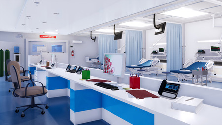Interior of modern emergency room with empty nurses station, hospital beds and various medical equipment. With no people 3D illustration on health care theme from my own 3D rendering file.