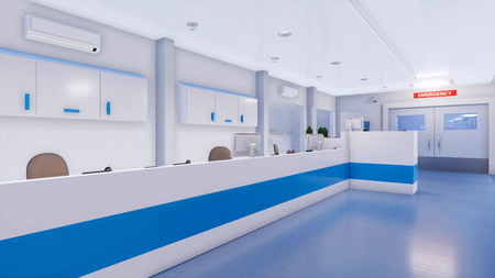 Empty nurses station in bright and clean emergency room interior of modern hospital. With no people 3D illustration on medicine and health care theme from my own 3D rendering file. Imagens - 119345683