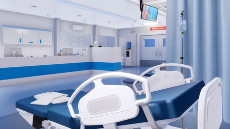 Close-up of empty hospital bed and nurses station on a background in clean emergency room of modern clinic. With no people 3D illustration on health care theme from my own 3D rendering file.