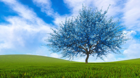 Fantasy spring landscape with surreal blue sakura cherry tree in full blossom on a green hills covered with fresh grass at daytime. Springtime season 3D illustration from my own 3D rendering file.