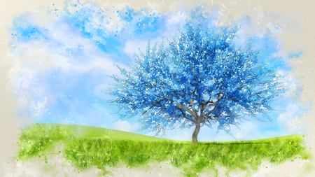 Fantasy spring landscape in a watercolor style with surreal blue sakura cherry tree in full blossom on a hills covered with green grass at daytime. Digital art painting from my own 3D rendering file. Foto de archivo - 119345723