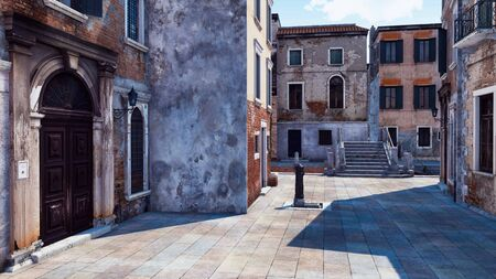 Empty venetian street with scenic ancient buildings and old stone bridge over water canal on a background. With no people romantic cityscape 3D illustration from my own 3D rendering file. Foto de archivo - 128085851