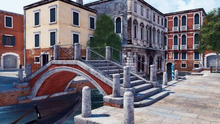 Empty street of Venice, Italy with scenic ancient buildings and old stone bridge over narrow water canal. With no people romantic cityscape 3D illustration from my own 3D rendering file.