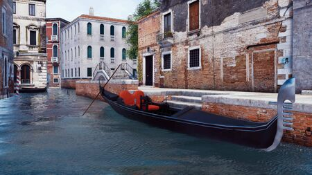Empty traditional venetian gondola on a water canal in Venice, Italy with scenic ancient buildings and old stone bridge on a background. With no people 3D illustration from my own 3D rendering file.