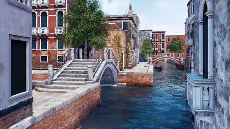Empty narrow water canal in Venice, Italy with ancient stone bridge and scenic old buildings on a background. With no people romantic cityscape 3D illustration from my own 3D rendering file. Imagens - 128085883
