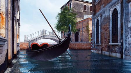 Empty traditional venetian gondola on a water canal in Venice with ancient buildings and stone bridge on a background. With no people romantic cityscape 3D illustration from my own 3D rendering file. Foto de archivo - 128085882