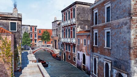 Empty Venice street with scenic ancient buildings, old stone bridge and traditional venetian gondolas on a water canal. With no people 3D illustration from my own 3D rendering file. 写真素材