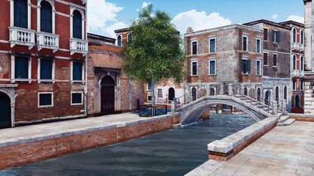 Scenic empty street of Venice, Italy with ancient buildings and old stone bridge over narrow water canal. With no people romantic cityscape 3D illustration from my own 3D rendering file.