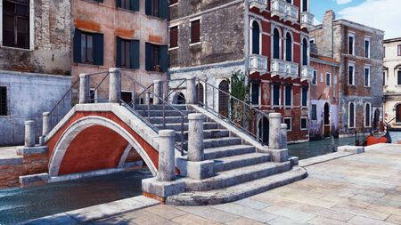 Old stone bridge over narrow water canal in Venice with scenic ancient buildings and traditional venetian gondola on a background. With no people 3D illustration from my own 3D rendering file. Foto de archivo - 128085890