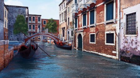Ancient venetian buildings along the narrow water canal with moored empty gondolas and old stone bridge in Venice, Italy. Romantic cityscape 3D illustration from my own 3D rendering file. 写真素材