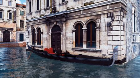 Empty traditional venetian gondola moored near scenic ancient building on a water canal in Venice, Italy. With no people romantic cityscape 3D illustration from my own 3D rendering file. Imagens