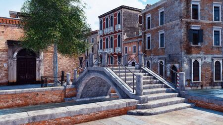 Old stone bridge over narrow water canal in Venice, Italy with ancient venetian buildings on a background. With no people realistic 3D illustration from my own 3D rendering file.