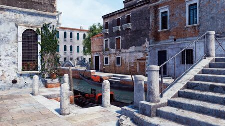 Close-up of old stone bridge and quay for traditional venetian gondolas on a narrow water canal in Venice, Italy. With no people realistic 3D illustration from my own 3D rendering file. Foto de archivo - 128085908