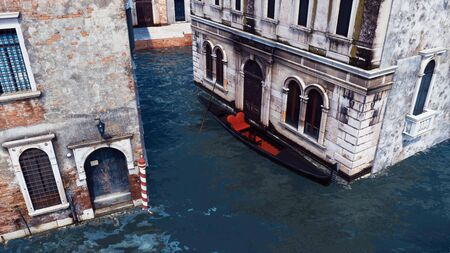 Aerial view of empty traditional venetian gondola moored near scenic old building on a narrow water canal in Venice, Italy. With no people realistic 3D illustration from my own 3D rendering file. Imagens - 128085909