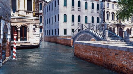 Empty narrow water canal in Venice, Italy with old stone bridge and ancient buildings on a background. With no people romantic cityscape 3D illustration from my own 3D rendering file.