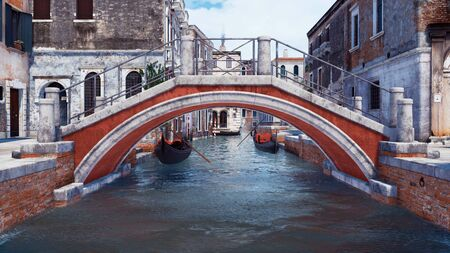 Low angle view of old stone bridge over narrow water canal in Venice, Italy with ancient buildings and venetian gondolas on a background. With no people 3D illustration from my own 3D rendering file.