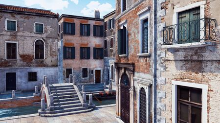 Empty city street with scenic ancient buildings and old stone bridge over narrow water canal in Venice, Italy. With no people romantic cityscape 3D illustration from my own 3D rendering file.