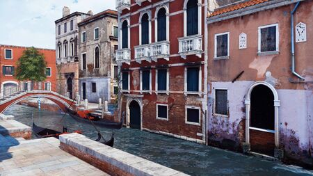 Narrow water canal in Venice, Italy with empty traditional venetian gondolas and ancient buildings on a background. With no people romantic cityscape 3D illustration from my own 3D rendering file. Foto de archivo - 128085934