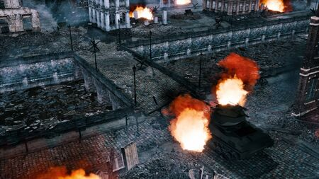 Empty riverfront of european city destroyed after the World War 2 with building ruins and wrecks of burning tank on a bridge at night. Historical military 3D illustration from my own rendering file. Stock Photo