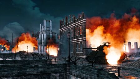 Urban battlefield scene with ruined city buildings and burning wrecks of WWII tank on empty street at night. With no people 3D illustration on war and destruction theme from my own rendering file.