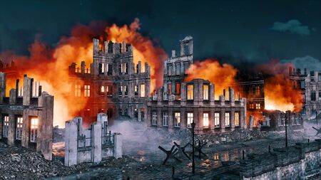 Flaming ruins of destroyed after war historical buildings in old abandoned european city at night. With no people historical military 3D illustration from my own 3D rendering file. Foto de archivo - 131118606