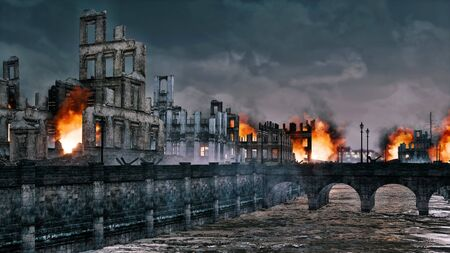 Burning ruins of destroyed after WWII historical buildings in old european city on the river at night. Historical military 3D illustration on war and destruction theme from my own rendering file. Foto de archivo - 131118607