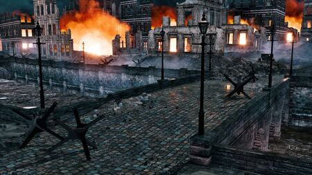 Destroyed after war european city with burning building ruins along riverfront and old stone bridge over river at night. With no people historical military 3D illustration from my own rendering file. Foto de archivo - 131118608