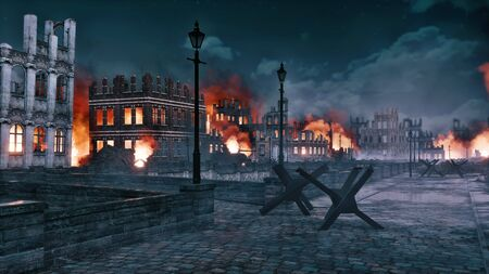 Urban battlefield scene with burning building ruins along the empty riverfront of destroyed after war european city at night. With no people historical 3D illustration from my own rendering file. Foto de archivo - 131118609