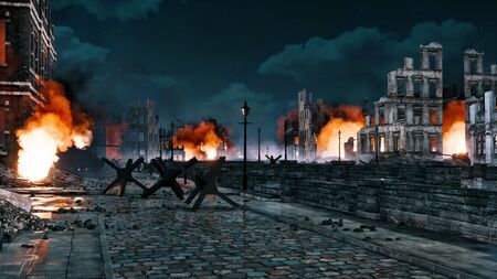 Destroyed after WW2 old abandoned european city with street barricade and burning building ruins at night. With no people 3D illustration on war and destruction theme from my own 3D rendering file. Foto de archivo - 131118610