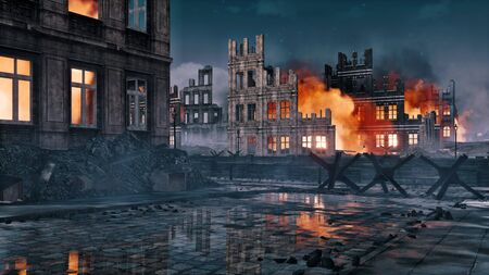 Destroyed after war abandoned european city with street barricade and burning building ruins on a background at night. With no people historical military 3D illustration from my own 3D rendering file. Foto de archivo - 131118611