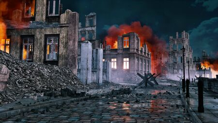 Empty street of destroyed after war old european city with burning building ruins and debris at night. With no people historical military 3D illustration from my own 3D rendering file. Foto de archivo - 131118612