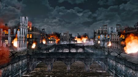 Urban battlefield scene with burning building ruins along the empty riverfront of destroyed after war old european city at night. With no people historical 3D illustration from my own rendering file. Foto de archivo - 131118727