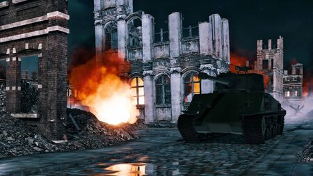 Urban battlefield scene with World War II tank among burning building ruins on empty street of destroyed european city at night. Historical military 3D illustration from my own rendering file.