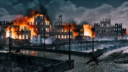 Burning ruins of european city destroyed after the bombing with ruined buildings along empty riverfront at night. Historical 3D illustration on war and destruction theme from my own 3D rendering file. Stock Photo