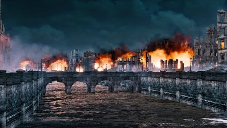 Empty riverfront of european city destroyed after the World War 2 with old stone bridge and burning building ruins at night. Historical military 3D illustration from my own 3D rendering file.