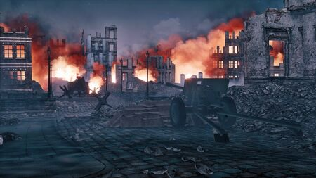 European city destroyed after the bombing of the World War 2 with burning building ruins and old machine gun on foreground at night. With no people military 3D illustration from my own rendering file. Imagens