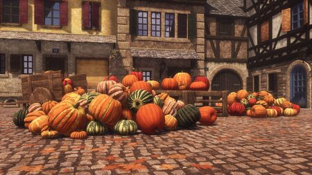 Colorful autumn pumpkins at rural farmers market on a square of small medieval village. With no people fall season festive 3D illustration for Thanksgiving or Halloween from my rendering file. Imagens