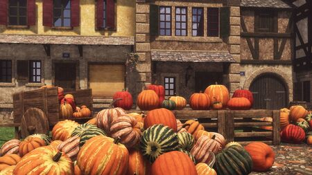 Country market with colorful autumn pumpkins piled on small village square, food and decoration for Halloween and Thanksgiving. With no people fall season 3D illustration from my own rendering file.