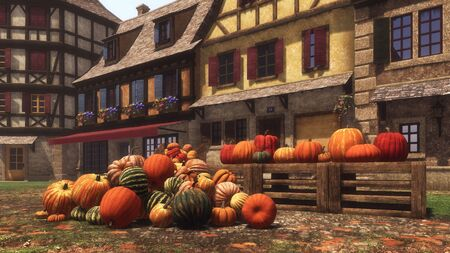 Country market with various autumn pumpkins piled on square of small medieval village and ready for Halloween and Thanksgiving holidays. With no people festive 3D illustration from my rendering file. Imagens