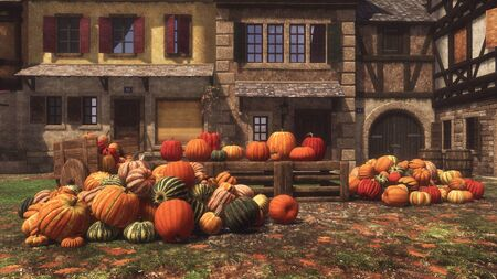 Thanksgiving Day autumn scene at outdoor rural farmer's market with various colorful pumpkins for sale piled on small village square. With no people festive 3D illustration from my rendering file.