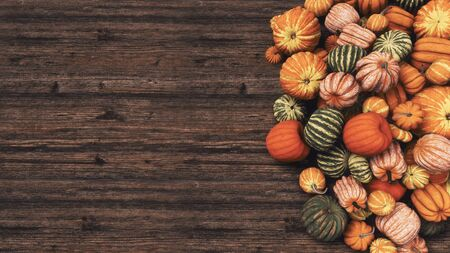 Close-up top view of various colorful autumn pumpkins at farmers market on dark wooden background with copy space. Thanksgiving and Halloween festive concept 3D illustration from my rendering file. Imagens