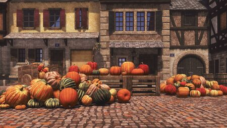 Rural farmers market with colorful autumn pumpkins piled on square of small medieval village. Organic food and decoration for Halloween and Thanksgiving concept 3D illustration from my rendering file.