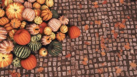 Close-up top view of various colorful autumn pumpkins piled on old cobblestone pavement at outdoors country market for Thanksgiving or Halloween. Fall season 3D illustration from my rendering file.