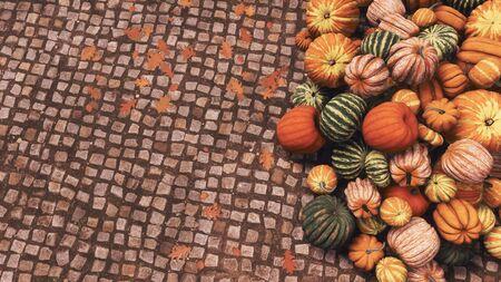 Close-up top view of colorful autumn pumpkins at farmer's market piled on cobblestone pavement background with copy space. Thanksgiving and Halloween festive 3D illustration from my rendering file. Imagens