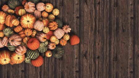 Close-up top view of various colorful autumn pumpkins at farmer's market on wooden background with copy space. Organic food and decoration for Halloween and Thanksgiving concept 3D illustration. Imagens