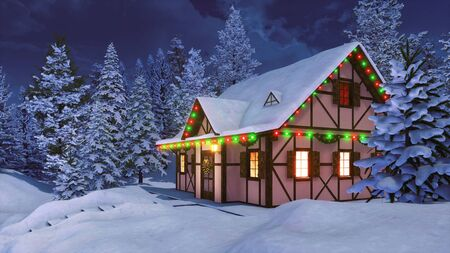 Cozy half-timbered rustic house decorated for Xmas and illuminated by christmas lights garlands among snow covered fir forest at winter night. With no people 3D illustration from my 3D rendering file.