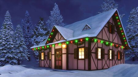 Cozy half-timbered rustic house decorated for Xmas with christmas lights, wreath and garlands among snow covered fir forest at winter night. Festive 3D illustration from my 3D rendering file.