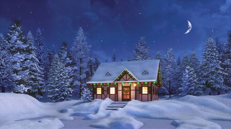 Cozy half-timbered rustic house decorated for Christmas among snow covered fir forest at calm winter night with half moon in the sky. 3D illustration for Xmas or New Year from my 3D rendering file.