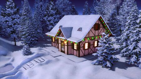 Half-timbered rural house decorated with christmas lights and garlands among snowbound fir tree forest at calm winter night. Festive 3D illustration for Xmas or New Year from my 3D rendering file.